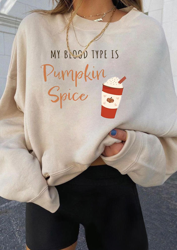 Halloween My Blood Type Is Pumpkin Spice Sweatshirt - Beige