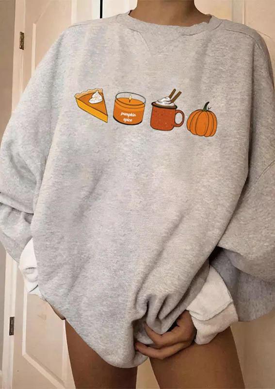 Cake Pumpkin Spice Drink Sweatshirt - Gray