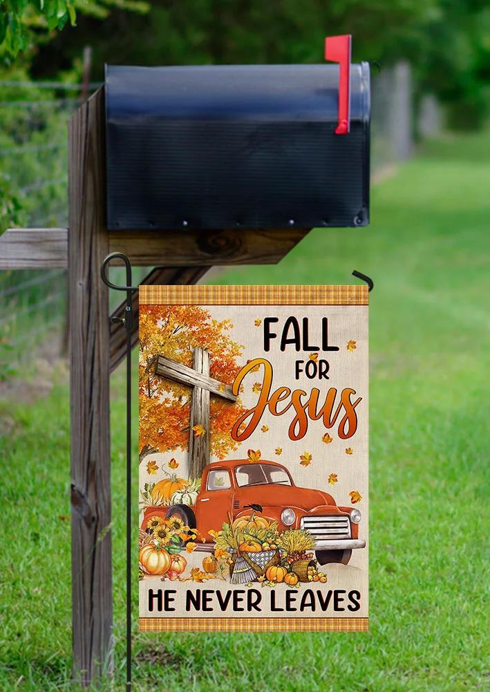Fall For Jesus Cross He Never Leaves Pumpkin Hanging Ornament Flag