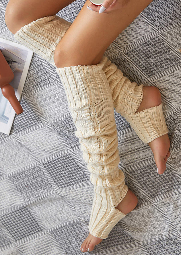 Crochet Hollow Out Thigh-High Socks - White