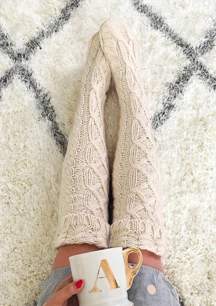 Crochet Knitted Twist Soft Warm Thigh-High Socks