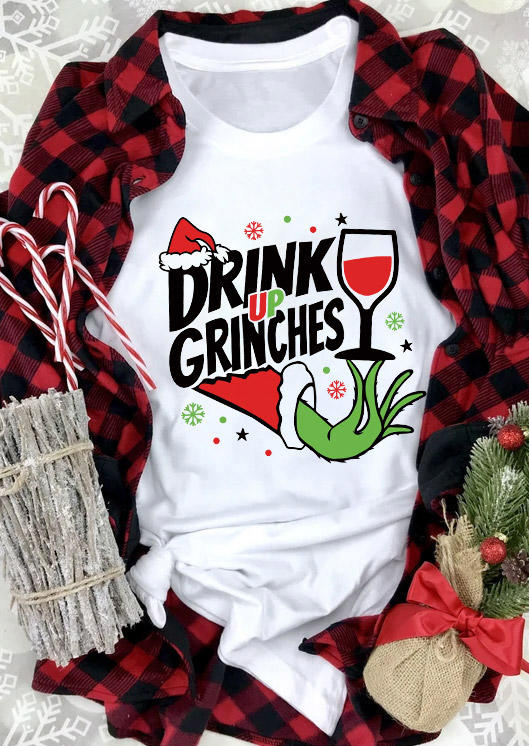 Christmas Drink Up Graphic O-Neck T-Shirt Tee - White