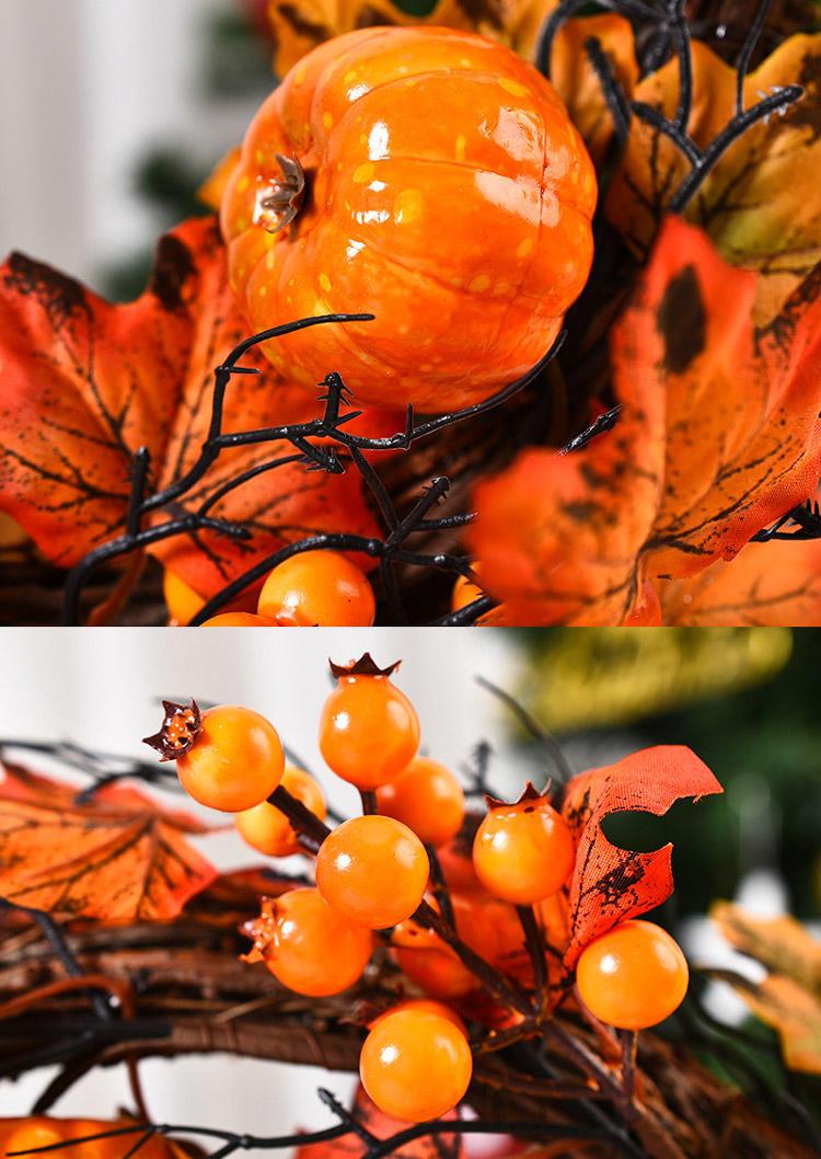 Thanksgiving Pumpkin Maple Leaf Pine Cone Wreath Decoration