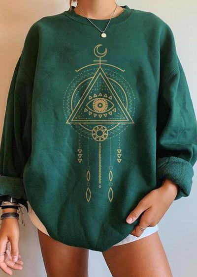 Hippie Eye Moon Sweatshirt - Green
