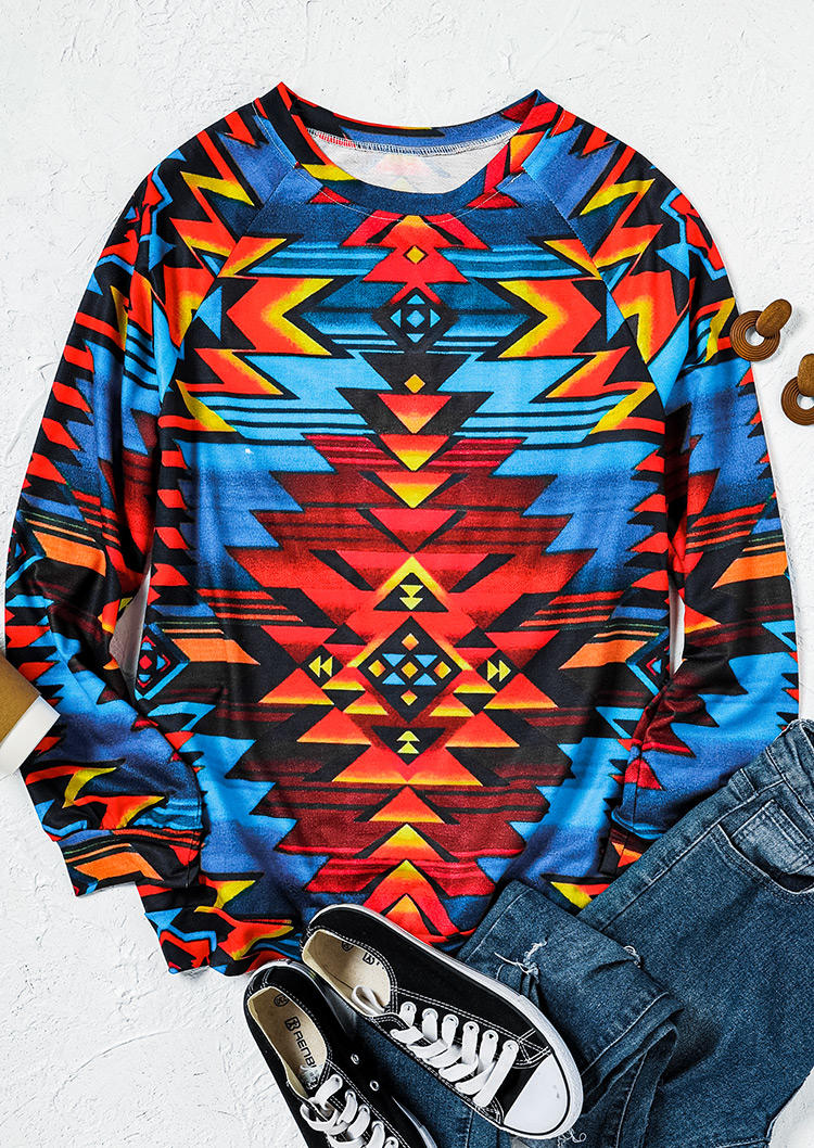 Aztec Geometric Western Pullover Sweatshirt