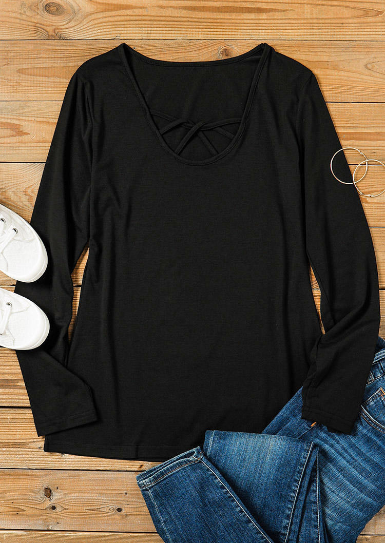 Cut Out Hollow Out Long Sleeve Blouse - Black