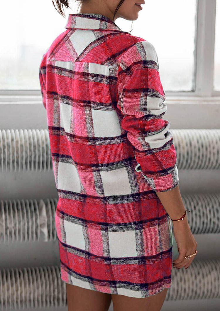 Plaid Pocket Button Turn-down Collar Coat