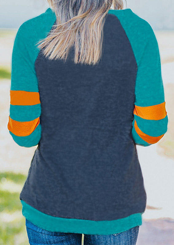 Color Block Striped Pocket Raglan Sleeve Sweatshirt - Green