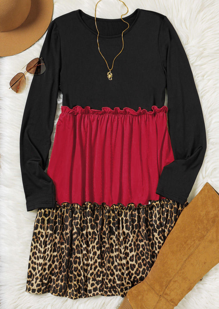 Leopard Color Block Ruffled O-Neck Mini Dress