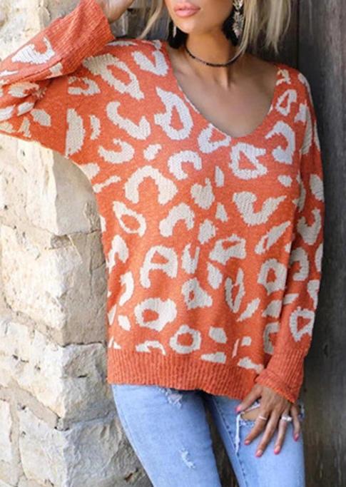 Leopard LongSleeve Pullover Sweater - Orange