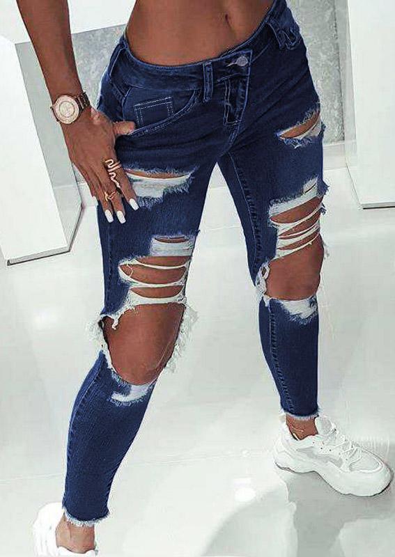 Ripped Hole Pocket Denim Jeans Pants - Deep Blue