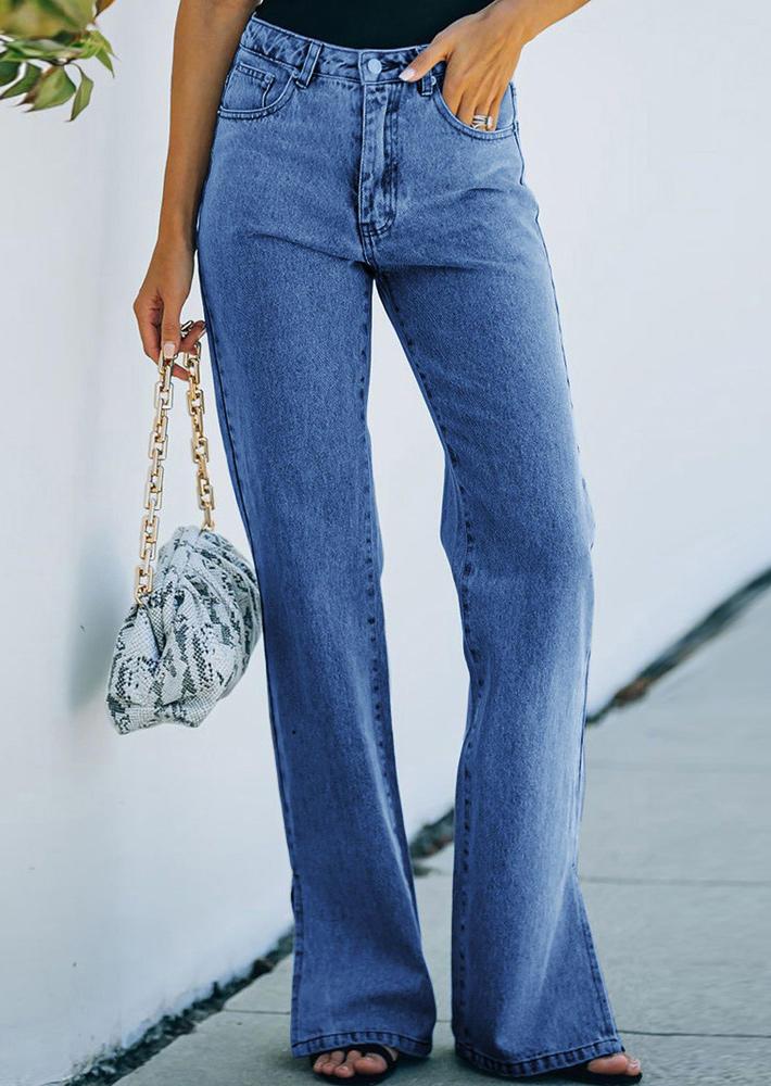 Pocket Button Slit Denim Pants - Blue
