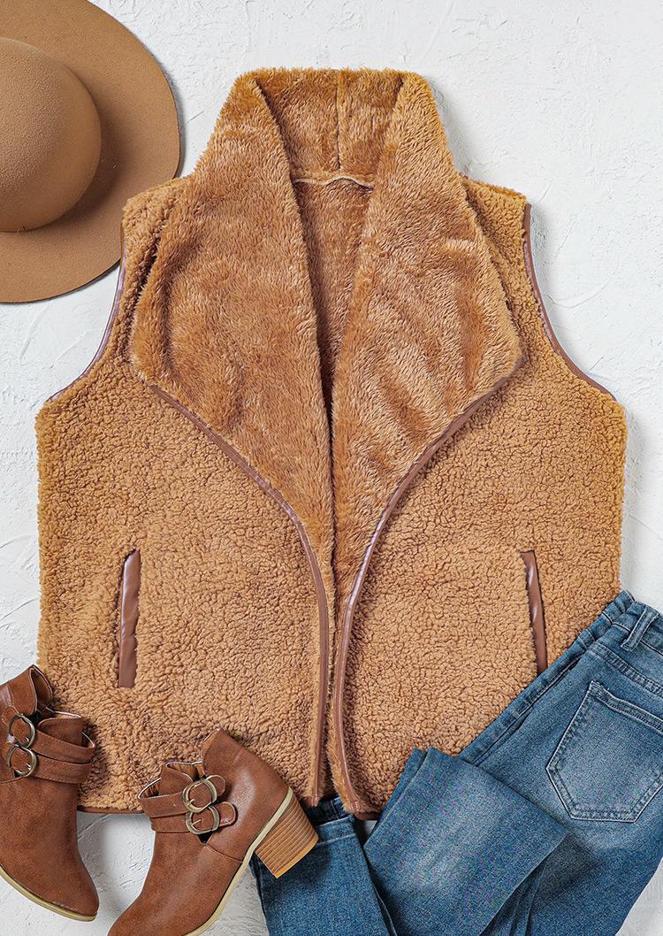 Fuzzy Turn-down Collar Sleeveless Vest Coat - Khaki