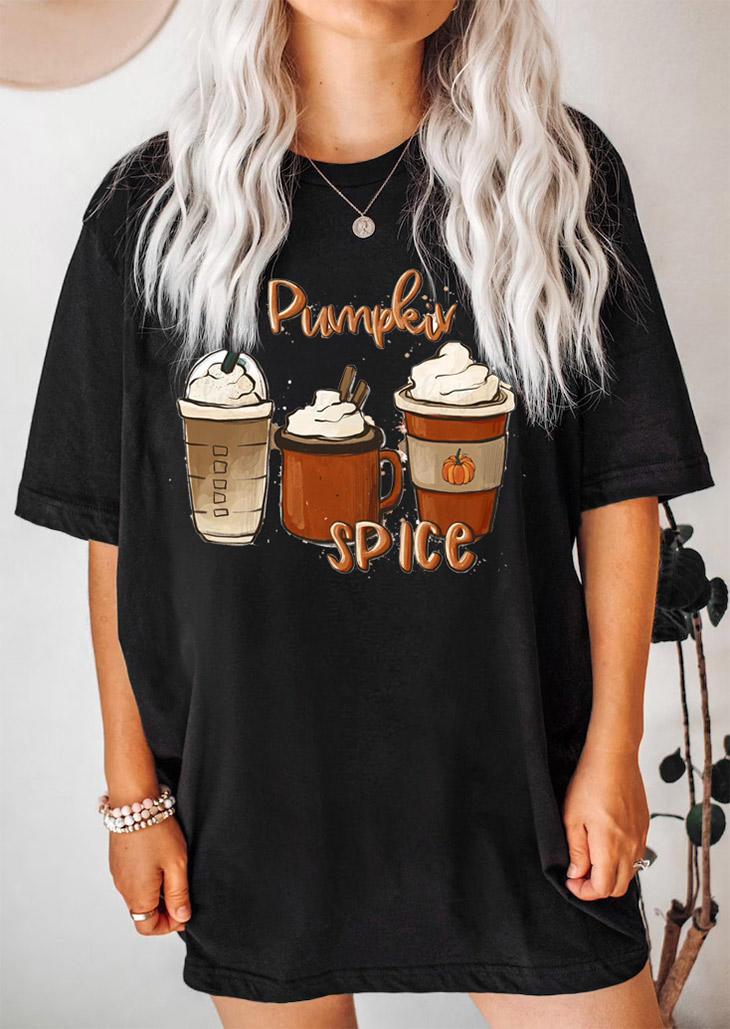 Pumpkin Spice Coffee Latte T-ShirtTee - Black