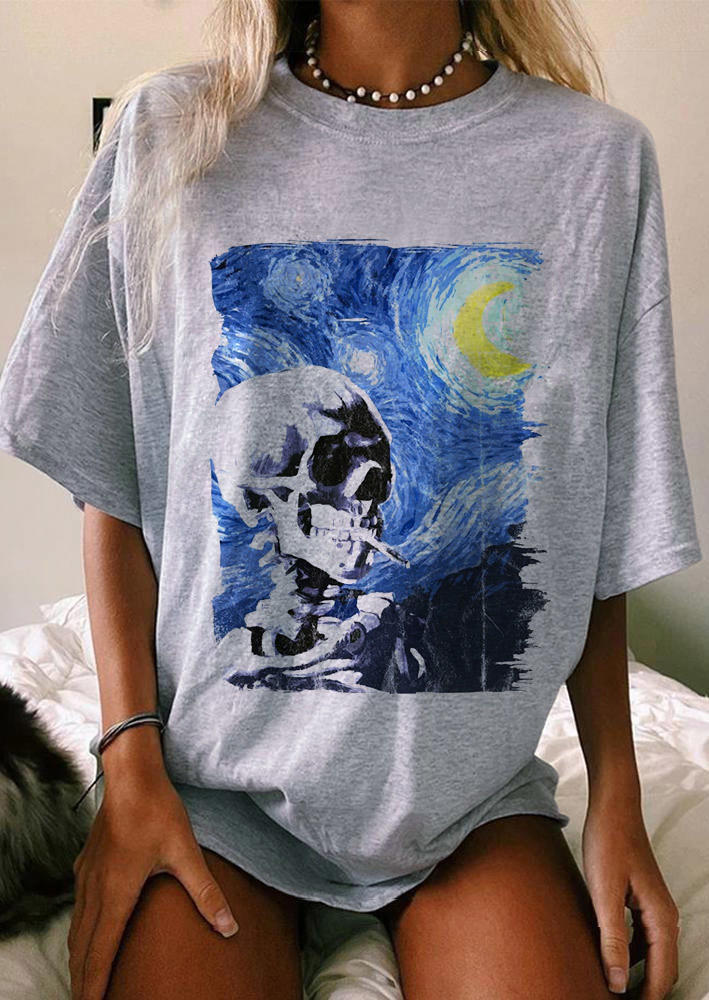 Skeleton Graphic O-Neck T-Shirt Tee - Light Grey