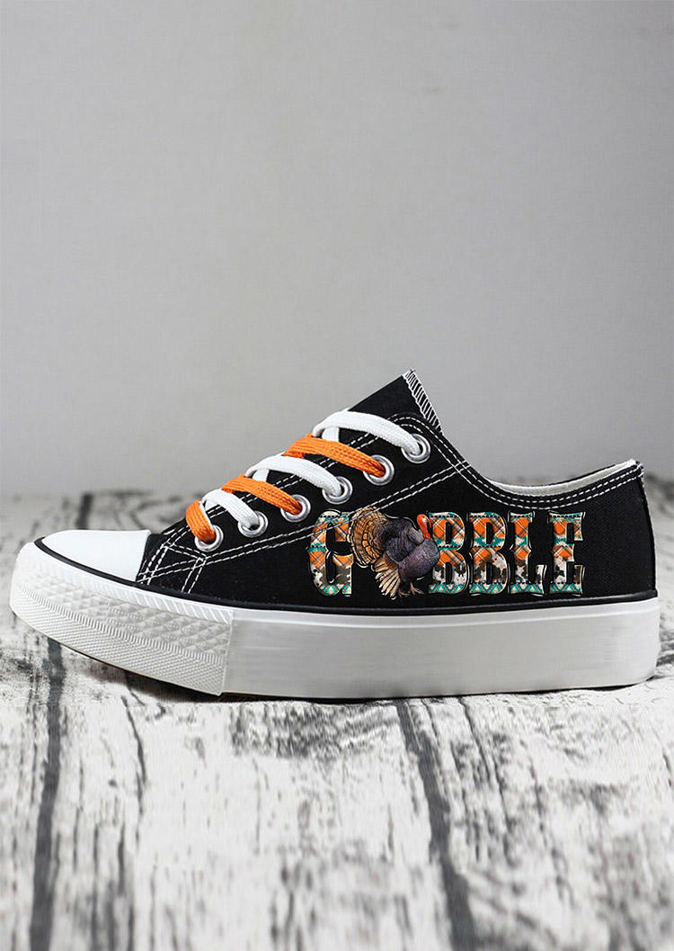 Thanksgiving Gobble Lace Up Flat Sneakers - Black