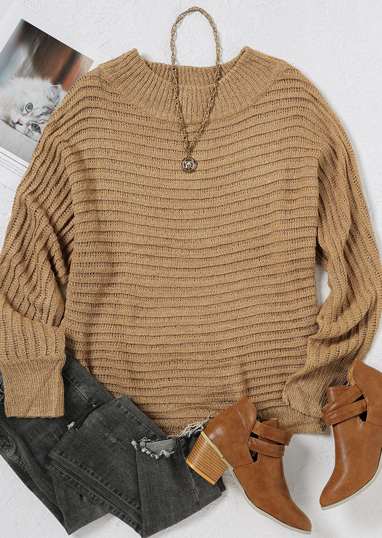 Striped Batwing Sleeve Sweater - Khaki