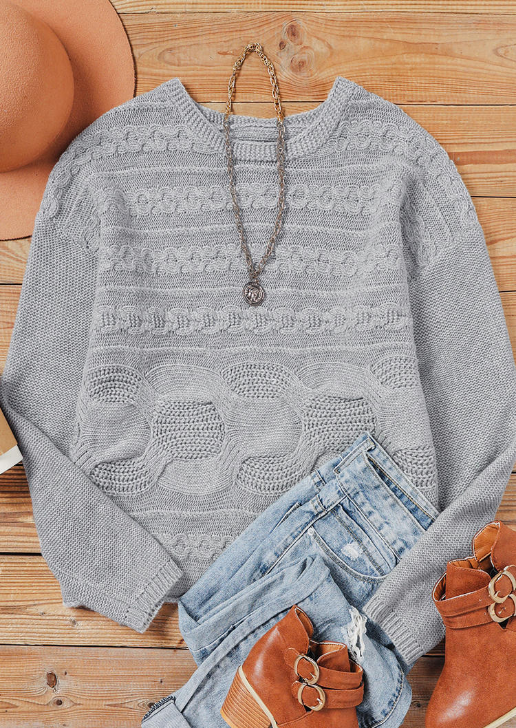 Crochet O-Neck Drop Shoulde Sweater - Gray