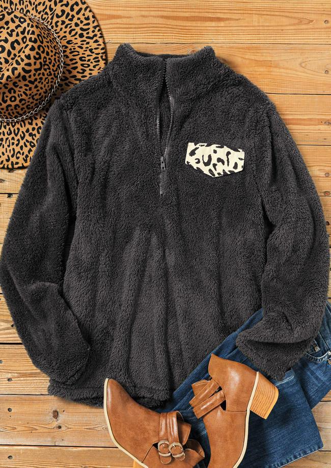 Fuzzy Leopard Zipper LongSleeve Sweatshirt - Dark Grey