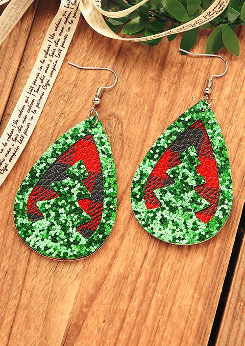 Glitter Christmas Tree Buffalo Plaid Water Drop Earrings