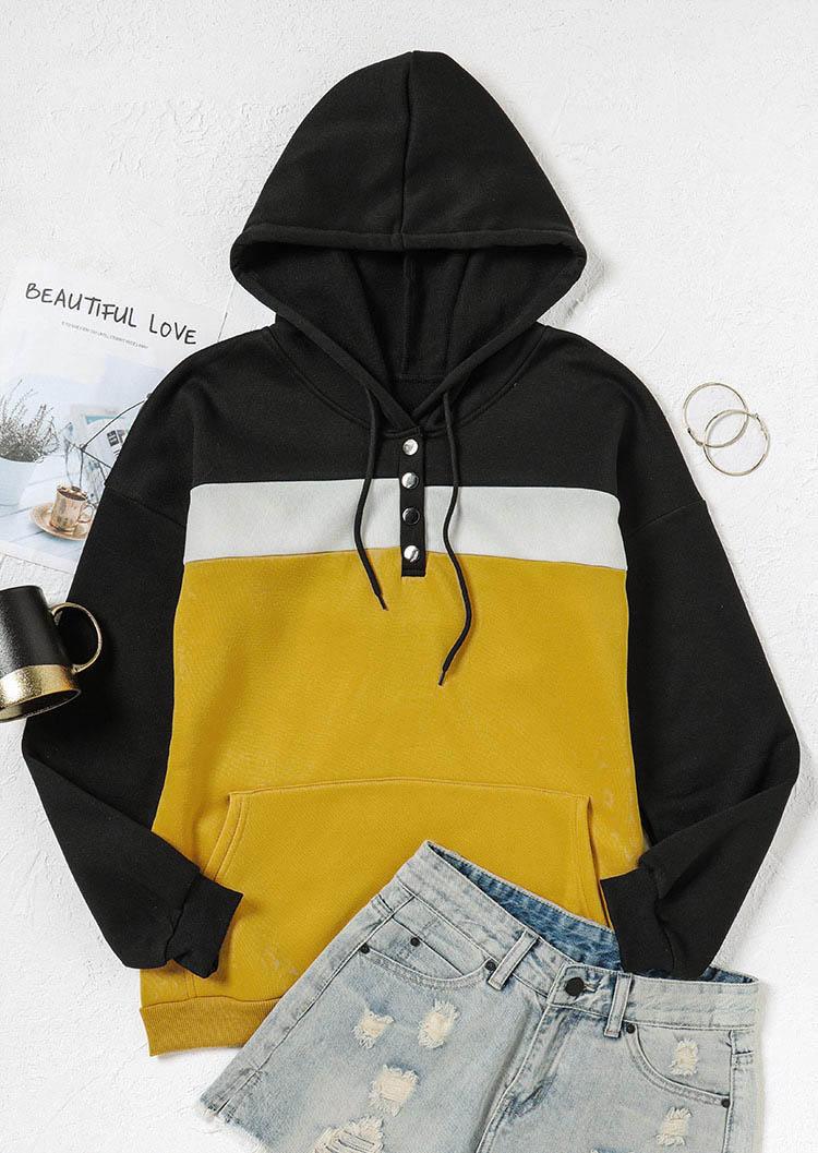 Color Block Button Kangaroo Pocket Hoodie - Yellow