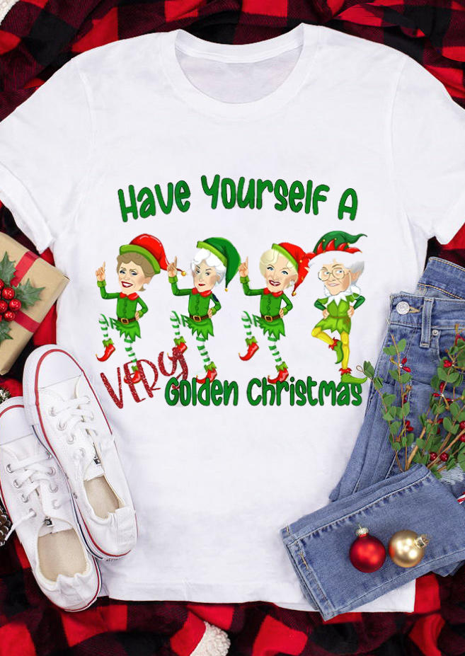 Have Yourself A Very Golden Christmas T-ShirtTee - White