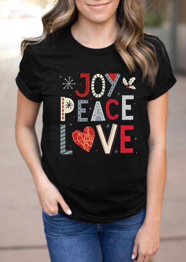 Christmas Joy Peace Love T-ShirtTee - Black