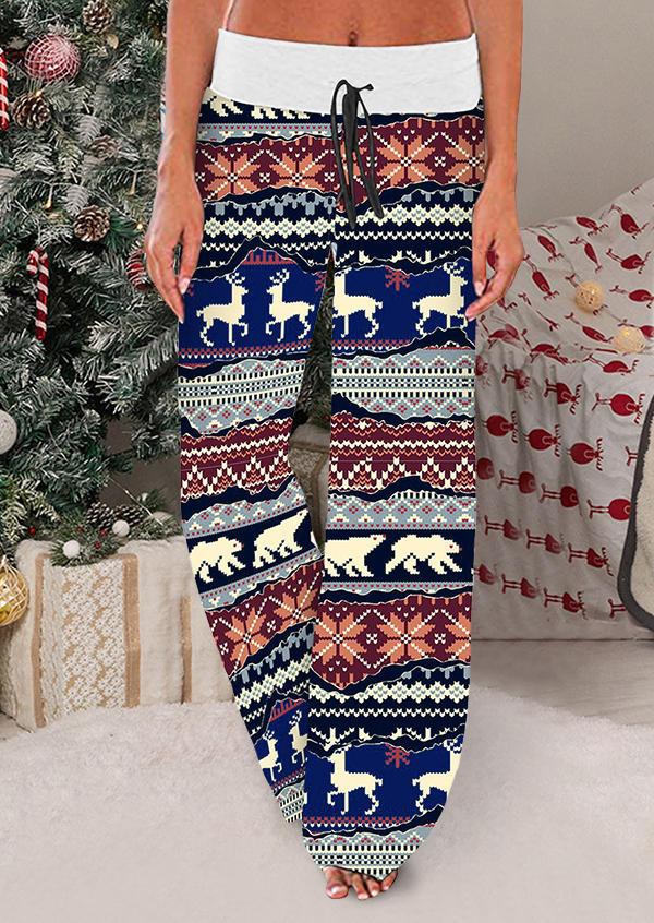 Christmas Reindeer Drawstring Wide Leg Pants