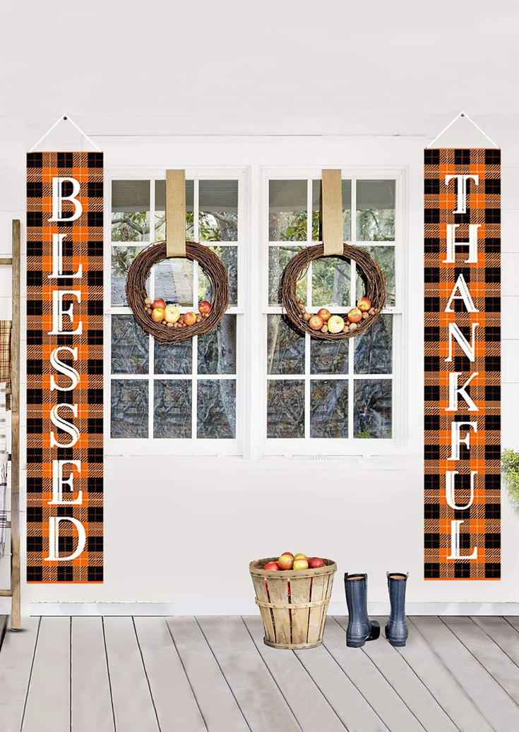 Buffalo Plaid  Blessed Thankful Door Banner