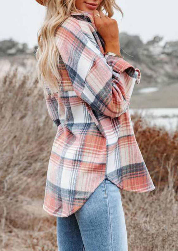 Plaid Pocket Turn-down Collar Asymmetric Coat - Pink