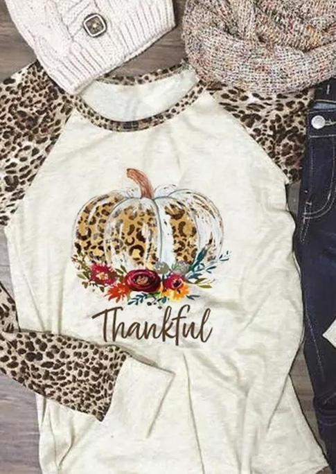 Thankful Leopard Pumpkin Raglan Sleeve Blouse - Beige