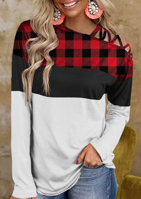 Buffalo Plaid Criss-Cross One Sided Cold Shoulder Blouse - Red