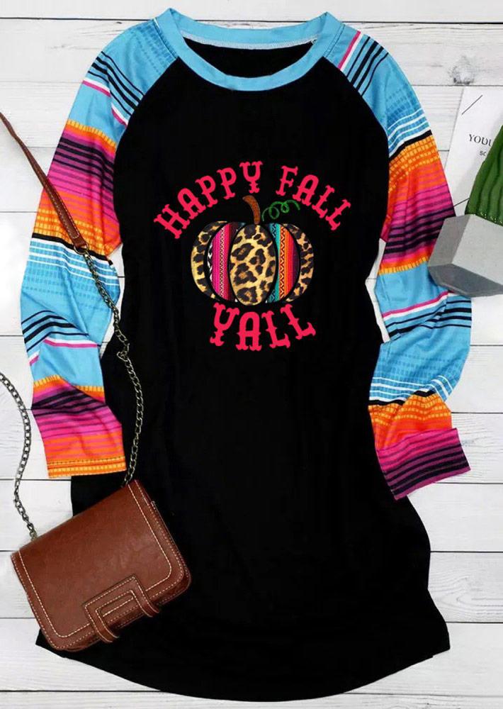 Happy Fall Yall Leopard Pumpkin Serape Striped Mini Dress