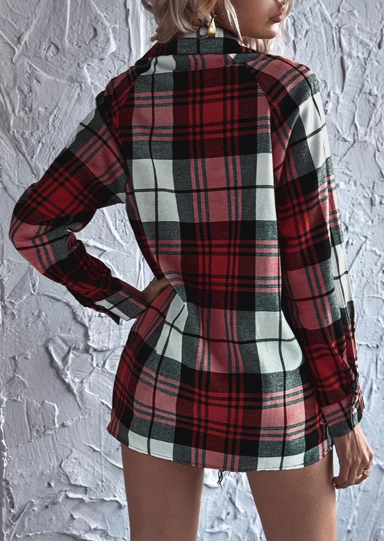 Plaid Button Turn-down Collar LongSleeve Shirt