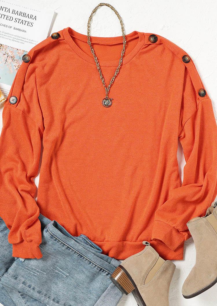 Button O-Neck Long Sleeve Blouse - Orange