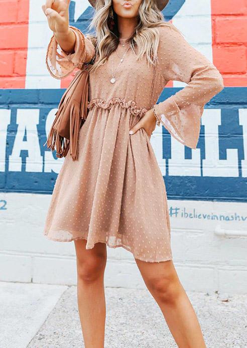 Dotted Swiss Ruffled Mini Dress - Flesh