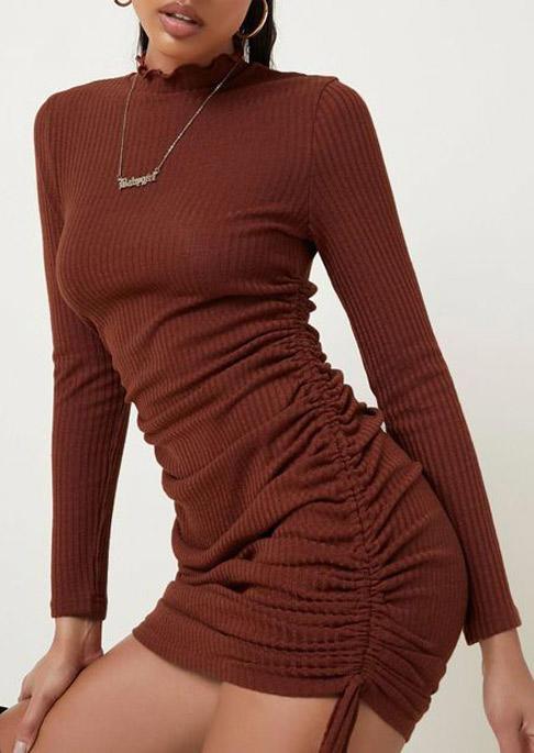 Ruffled Drawstring Long Sleeve Bodycon Dress - Brown