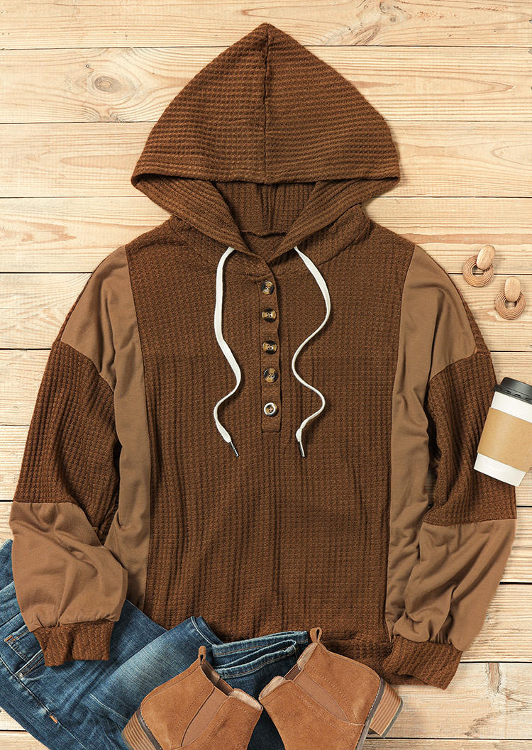 Color Block Button Drawstring Hoodie - Coffee