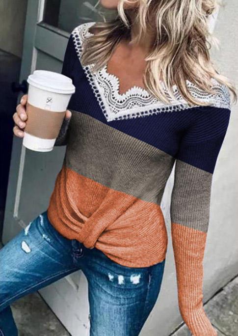 Lace Color Block Splicing Twist Long Sleeve Blouse