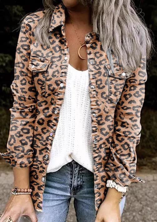 Leopard Pocket Button Long Sleeve Jacket