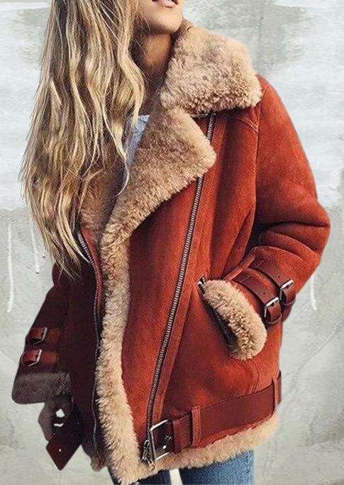 Plush Thickened Warm Pocket Zipper Coat - Brick Red