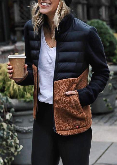 Color Block Splicing Pocket Fuzzy LongSleeve Jacket