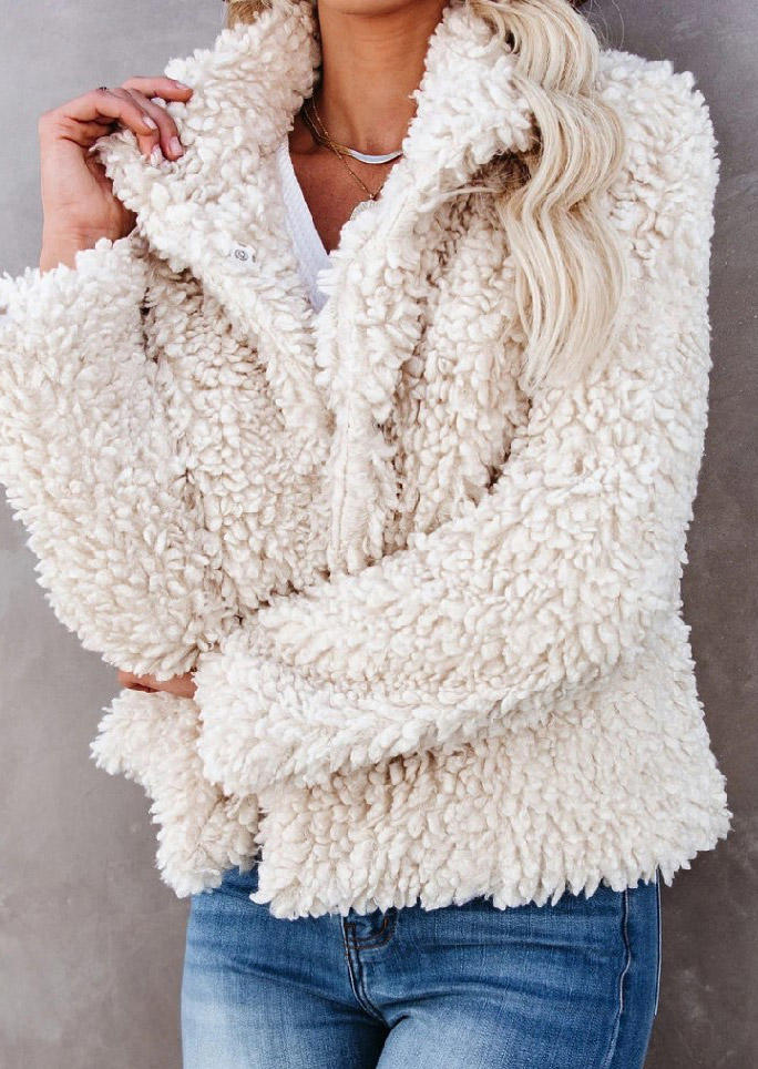 Fuzzy Stand Collar Coat - Beige