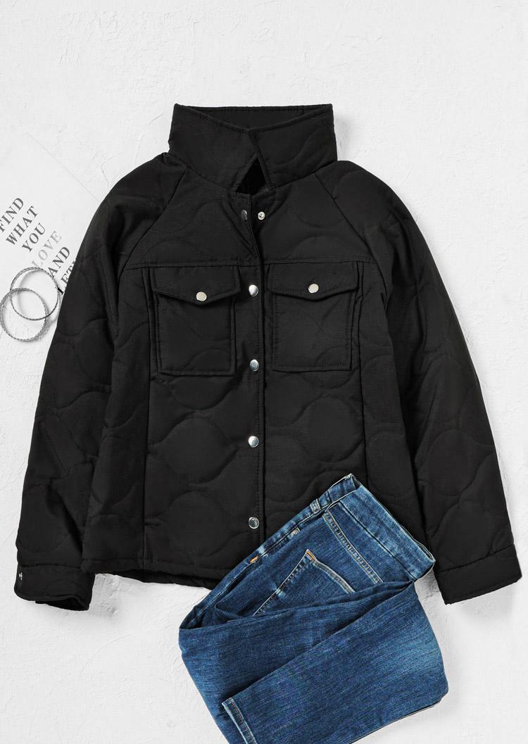 Pocket Button LongSleeve Parka Coat - Black
