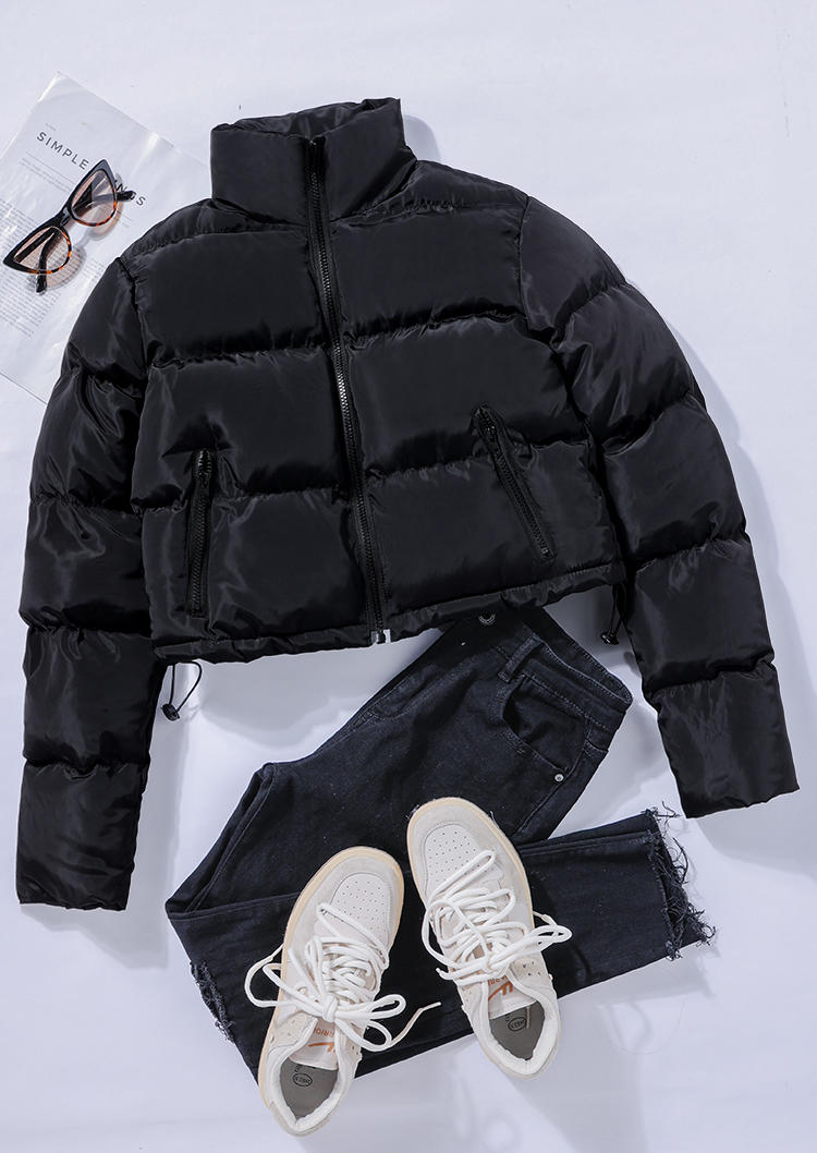 Zipper Pocket LongSleeve Crop Parka Coat - Black