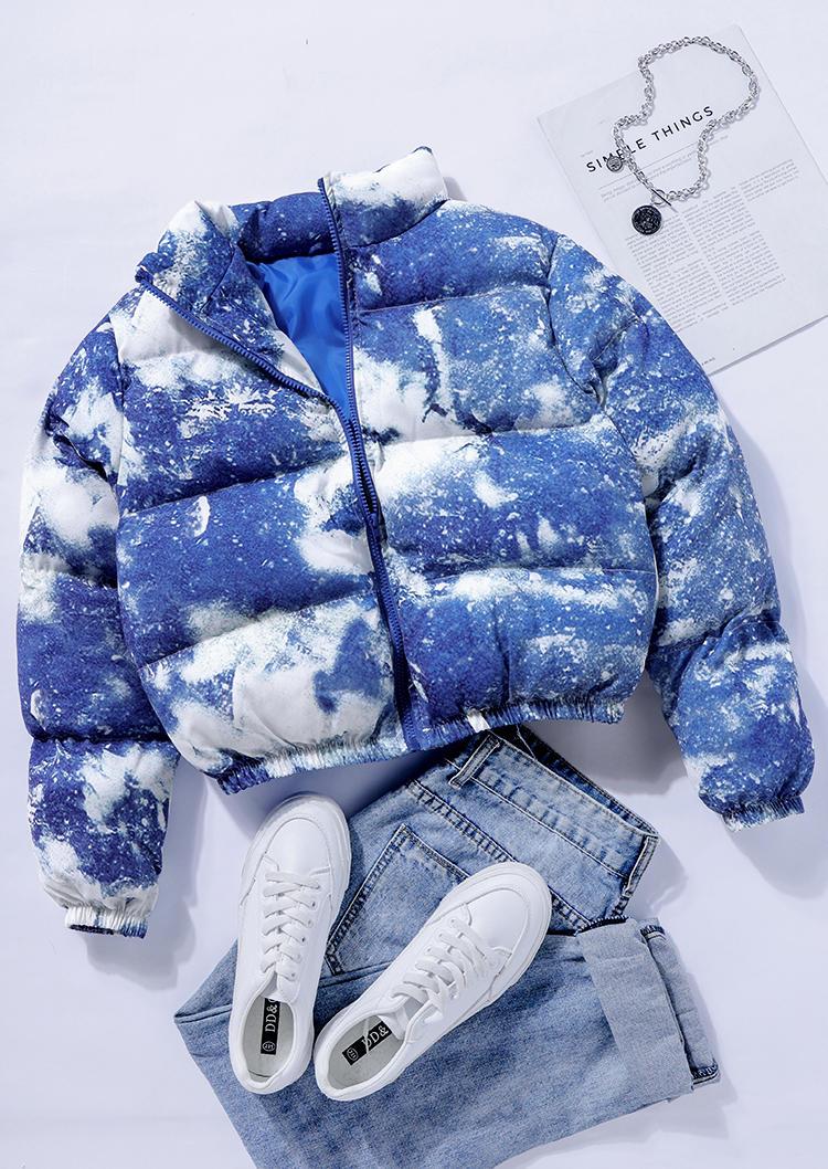 Zipper Stand Collar LongSleeve Crop Parka Coat